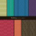 Seamless patterns knitting style set of seven Royalty Free Stock Photography