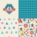 Seamless patterns of marine symbols and label use to create quilting patches or backgrounds for various craft projects Royalty Free Stock Photos