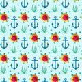Seamless patterns nautical elements