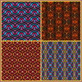 Seamless patterns in oriental style may be useful for print fabric tapestry craftsmanship scrap booking etc Stock Photo