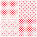 Seamless patterns in pink colors set of vector illustration Royalty Free Stock Images