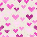 Seamless patterns with pixel hearts set of for textiles interior design for book design website background Royalty Free Stock Photo