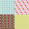 Seamless patterns, polka dot set Stock Photography