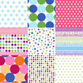 Seamless patterns, polka dot set Stock Images