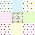 Seamless patterns, polka dot set Stock Image