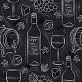 Seamless patterns with red wine set, cask, barrel, wineglass, grape and cheese on black chalkboard. Ideal for printing onto fabric