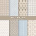 8 Seamless Patterns - Royal Vintage Set Royalty Free Stock Photo