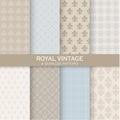 8 Seamless Patterns - Royal Vintage Set Royalty Free Stock Photo