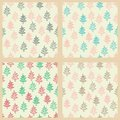 Seamless patterns set with christmas trees cute sketch Stock Image