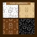 Seamless patterns set with cute cartoon rabbit.