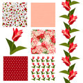 Seamless patterns set of elegant with decorative red tulips dots and abstract flowers design elements Stock Photo