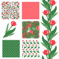 Seamless patterns set of elegant with decorative red tulips dots curls and abstract flowers design elements Royalty Free Stock Photography