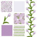 Seamless patterns set of elegant with decorative soft violet tulips dots curls and abstract flowers design elements Royalty Free Stock Photos