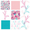 Seamless patterns set of elegant with decorative tulips dots and abstract flowers design elements Stock Photos