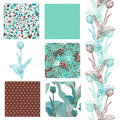 Seamless patterns set of elegant with decorative tulips dots curls and abstract flowers design elements Stock Photography