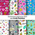 Seamless patterns set with fashion patch badges.