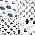 Set of seamless pattern in Scandinavian style - vector illustration, eps