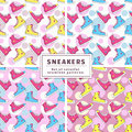 Seamless patterns with sneakers. Vector set.