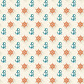 Seamless patterns steering whee and anchors with shadow vector illustrations Royalty Free Stock Photos