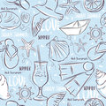Seamless Patterns with  summer symbols, boat, flip-flops, sea st Royalty Free Stock Photo