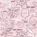 Seamless Patterns with summer symbols,ship rudder, parrot, coc