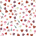 Seamless patterns for Valentines Day sweet kiss, gift box, red heart. Vector Royalty Free Stock Photo