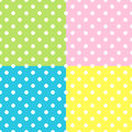 Seamless Patterns, White Polka Dots on red, yellow, blue, green backgrounds. Royalty Free Stock Photo