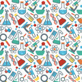 Seamless pattrn science pattern with symbols of and medicine in a flat style Stock Photography