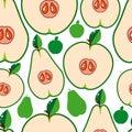 Seamless pears för äpplebakgrundsfrukt Royaltyfri Bild