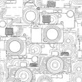 Seamless photography pattern vintage camera in black and white Stock Photography