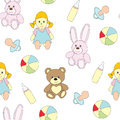 Seamless picture with toys for children. A vector pattern with a doll, a baby`s dummy, a pacifier, a ball, a hare, a bear . Royalty Free Stock Photo