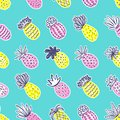 Seamless pineapple pattern. Handdrawn Pinapple with different textures in pastel colors on blue teal background. Exotic