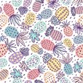 Seamless pineapple pattern. Handdrawn Pinapple with different textures in pastel colors. Exotic fruits background For