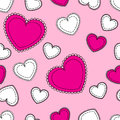 Seamless pink background with hearts and white Royalty Free Stock Images