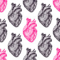Seamless pink and black hearts