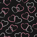 Seamless pink and black hearts pattern. Valentine design