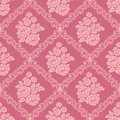 Seamless pink damask Wallpaper with bouquet of Flowers for design Royalty Free Stock Photo