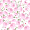 Seamless pink floral pattern with ranunculus