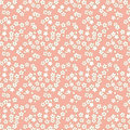 Seamless pink and golden cherry blossom flower pattern background. Royalty Free Stock Photo