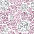 Seamless pink grunge rose pattern Royalty Free Stock Photo