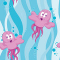 Seamless pink jellyfish Royalty Free Stock Image