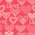 Seamless pink monochrome valentine pattern with hand drawn ornate hearts Stock Photography