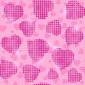 Seamless pink valentine pattern with shiny halftone heart silhouettes illustration Stock Photos