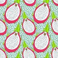 Seamless pitaya fruit pattern. Vector illustration for menu, wallpapers and scrapbooks. Royalty Free Stock Photo