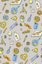Seamless pizza background pattern. Vector art and food basil