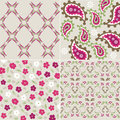 Seamless plant patterns with fabric texture Royalty Free Stock Photos