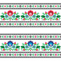 Seamless Polish folk pattern with flowers Stock Photo