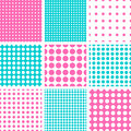 Seamless polka dot in pink turquoise vector pattern hot and dark colors Stock Photo