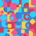 Seamless pop art colorful abstract Geometric shapes Pattern. Bright color various tiles decor wallpaper background.