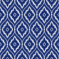 Seamless porcelain indigo blue and white vintage Persian ikat pattern vector Royalty Free Stock Photo